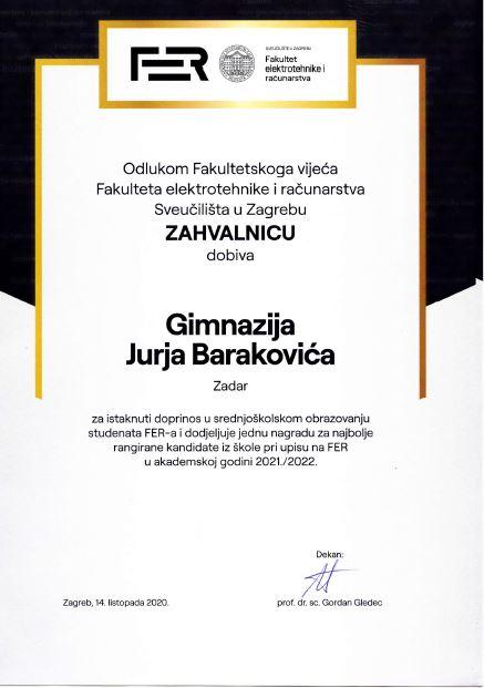 List osobni kontakti zadarski Zadar proglašen